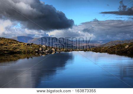 cadair idris mountain range in snowdonia landscape reflection in a lake