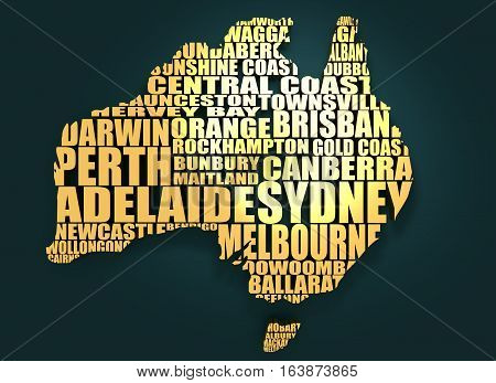 Map of Australia made from cities list. Golden material. 3D rendering