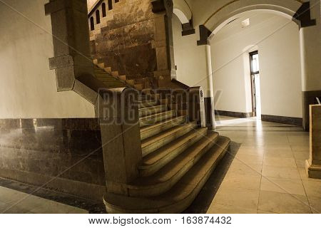 Big and classic stairs at Lawang Sewu building photo taken in Semarang Indonesia java