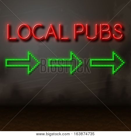 Local Pubs Sign Shows Directions To Nearby Bars