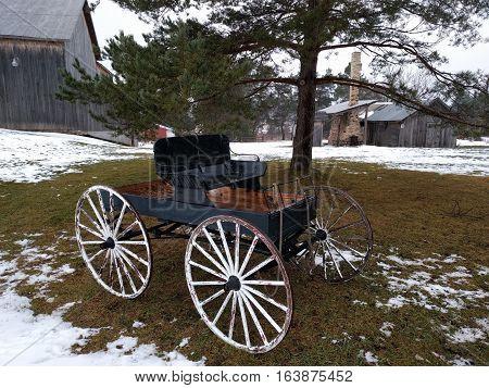 Rustic Old World Horse Driven Farm Wagon