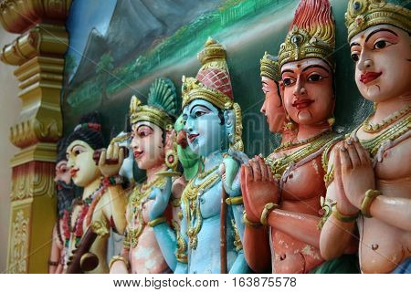 Traditional statues of Hindu God close up selective focus