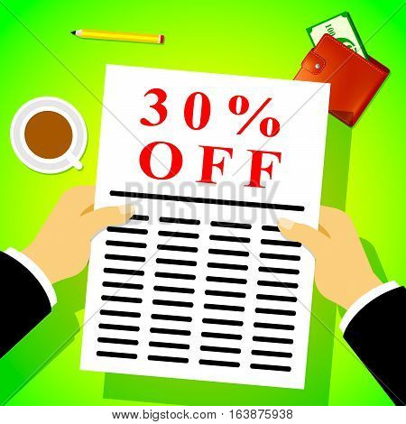 Thirty Percent Off Means 30% Discount 3D Illustration