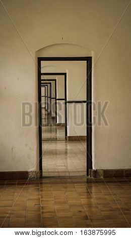 Door frames in a row at Lawang Sewu photo taken in Semarang Indonesia java