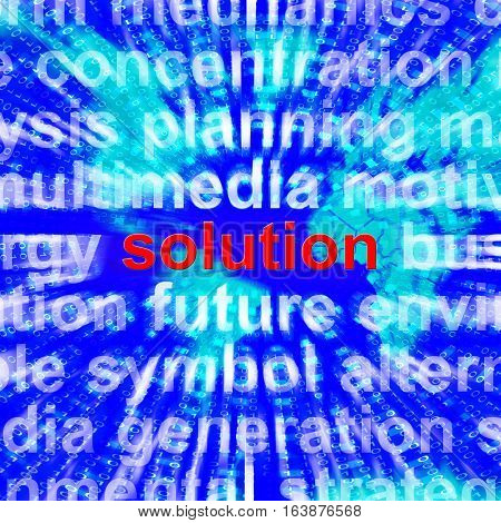 Solution Word Showing Success Acheivement 3D Rendering