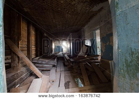 Abandoned old building - the corridor of the haunted house, wide angle