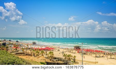 White sand city beaches of Rishon LeZion Israel are located on the Mediterranean coast. There are many beach umbrellas lifeguard huts palms unidentified people white clouds and blue sea. Long shot in bright sunny summer day