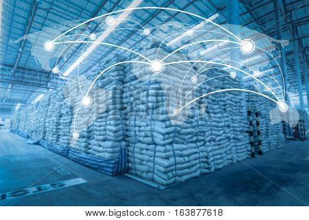 Global network coverage world for Distribution of goods in warehouse process for Logistic Import Export background (Elements of this image furnished by NASA)
