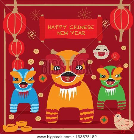Happy Chinese new year 2017. Rooster Year, Poster Card Freehand Dragon cartoon style. Vector illustration