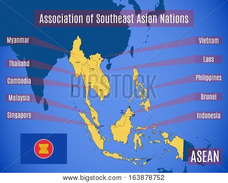 Map Of Association Of Southeast Asian Nations (asean).