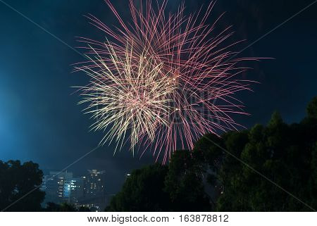 Fire Works On New Years Eve Over Adelaide Cbd, South Australia