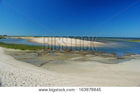 Sandy Atlantic shoreline of Wellfleet Bay in Cape Cod, USA