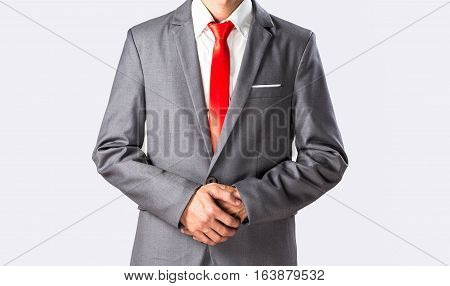 Grey Suit Asian Business Man Cross Arm Polite Standing, Isolated.