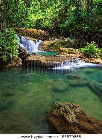 Deep forest Waterfall in Kanchanaburi province Thailand