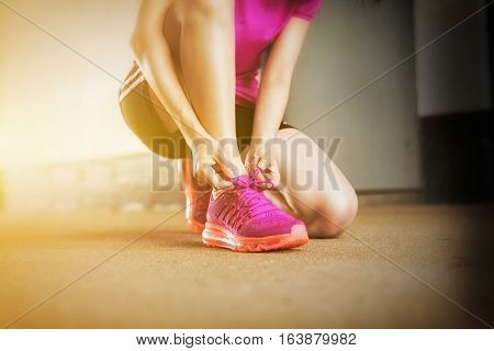 Athlete Asian Young Girl Tying Laces For Jogging, Close Up Running Shoes Of Young Beautiful Woman Wh