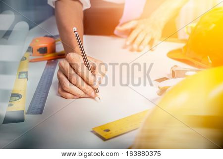 Picture Of Architect Engineer Start-up Drawing Architectural Building Blueprint Project, Business Ma