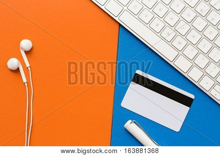 Office Supplies Stay On Orange And Blue Sky Colorful Of Imitation Leather Paper Texture