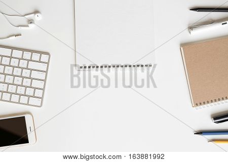 Modern Office Supplies Display On Clear Copy Space Office Table Background, Top View