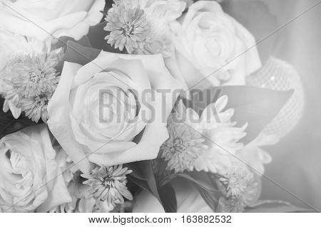 Black and white close-up bouquet with sunlight effect