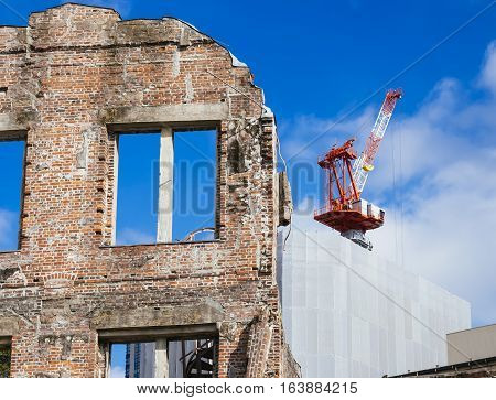 Crane construction with Old Architecture site Building Renovation