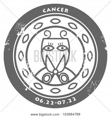 Grunge rubber stamp - sign of the zodiac Cancer, vector illustration