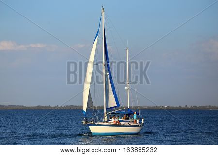 Florida, Usa - March 4: Boat Sailing Near Sanibel Island On March 4, 2014 In Florida, Usa. Sailing I