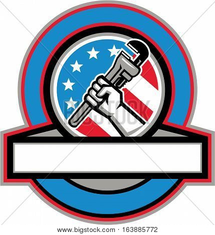 Illustration of a plumber hand holding adjustable pipe wrench viewed from the side set inside circle with usa american stars and stripes flag in the background done in retro style.