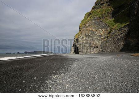 Halsanefshellir sea cave. Reynisfjara Beach in Iceland