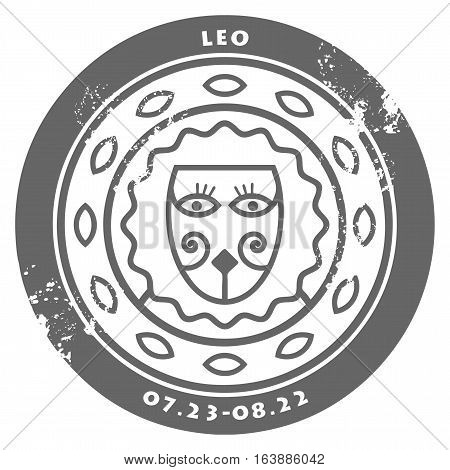 Grunge rubber stamp - sign of the zodiac Leo, vector illustration