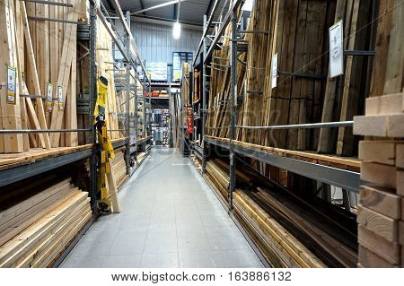 Basingstoke, Uk - December 05 2016: Wood And Timber Section Of The B&q Superstore. B&q Is A Major Di