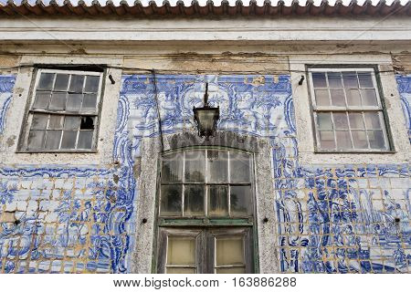 CAXIAS, PORTUGAL - October 26, 2016: Detail of the ruined facade wall of the 18th century Royal Palace of Caxias Portugal