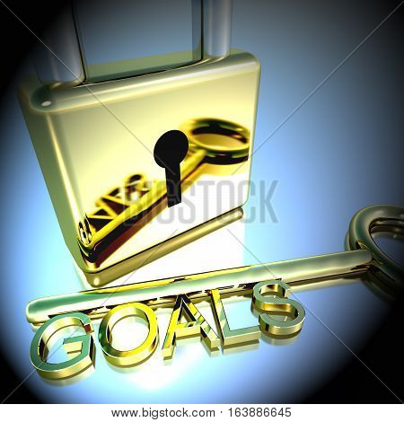 Padlock With Goals Key Showing Objectives Hope 3D Rendering