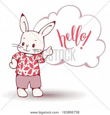 Hand-drawn illustration of funny cartoon Bunny. Vector