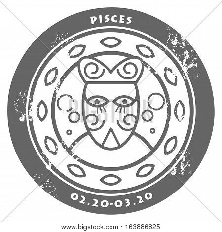 Grunge rubber stamp - sign of the zodiac Pisces, vector illustration