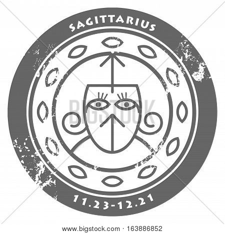 Grunge rubber stamp - sign of the zodiac Sagittarius, vector illustration