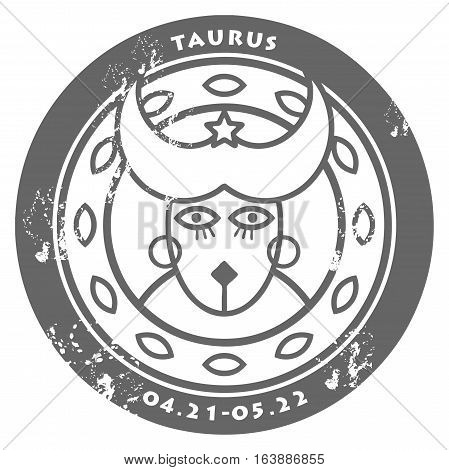 Grunge rubber stamp - sign of the zodiac Taurus, vector illustration