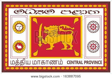 Flag of Central Province is one of the nine provinces of Sri Lanka. Vector illustration