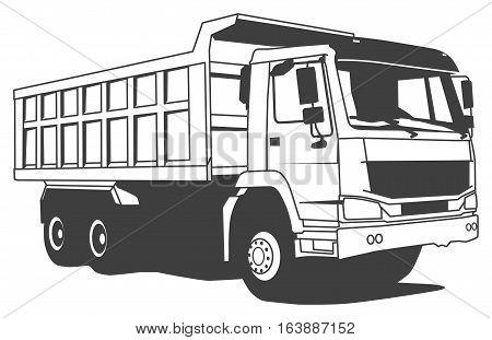 Dump truck on white background hand draw illustration, vector