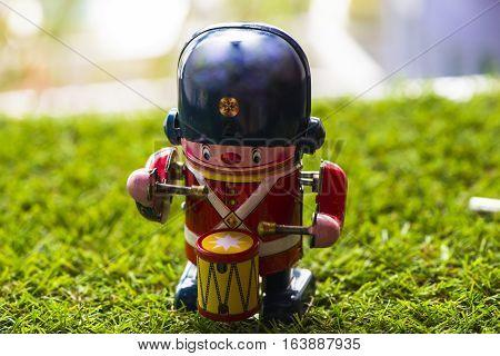 Old tin classic toy drummer, Vintage Wind Up Mechanical Soldier Drummer Clockwork Tin Toy