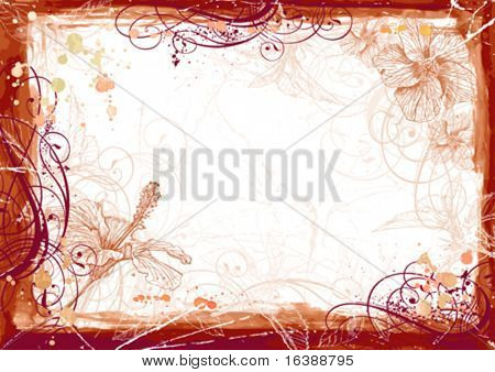 Vector watercolor frame & Hibiscus flowers