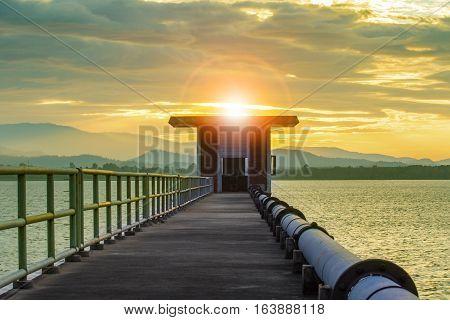 sun rising sky at bangkpra water reservoir lake chonburi eastern of thailand