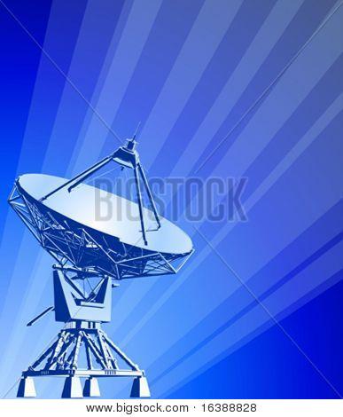 satellite dishes antenna (doppler radar) & blue technology background