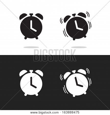 Clock alarm icon vector isolated on white and black background, classic retro alarm clock ringing pictogram