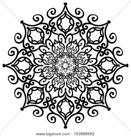 Mandala Forged Design Element. Intricate Floral decoration. Stylized flower shape. Weave decorative object isolated on white background. For anti stress meditation, interior. Vector illustration.