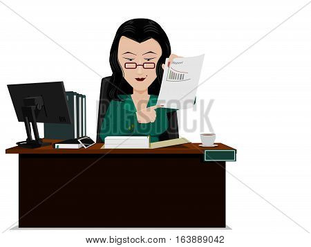 senior accountant is presenting report on her desk