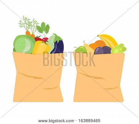Vector illustration of fresh fruits and vegetables in paper bags. Healthy food concept.