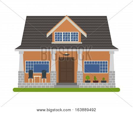 Modern Bungalow style house. Vector illustration of a tourist house for rent sale booking and living isolated on white background.