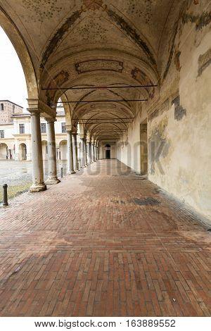 MANTUA ITALY - MAY 2 2016: Palazzo Ducale on Piazza Castello in Mantua - Italy