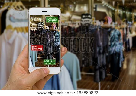 Augmented reality in retail business concept application for discounted or on sale products.
