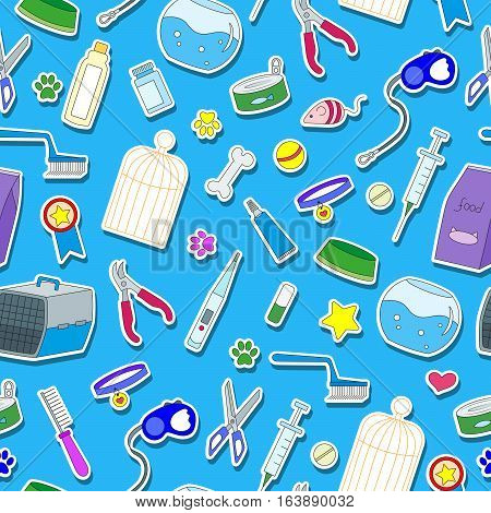 Seamless background on the topic of pet care pet shop simple colored icons on a blue background